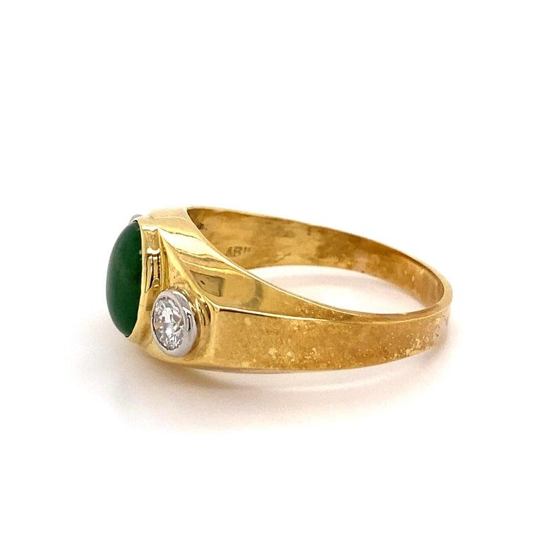 Fine Men's Jade and Diamond 3-Stone Gold Signet Ring Estate Fine Jewelry For Sale 2