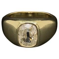 Fine Men's Old Mine Cushion Diamond Solitaire Gold Ring Estate Fine Jewelry