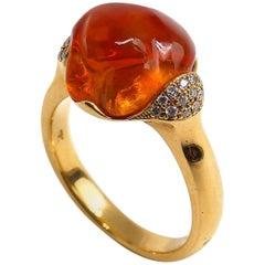 Fine Mexican Fire Opal 18 Karat Rose Gold Ring