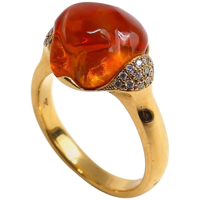 Fine Mexican Fire Opal 18 Karat Rose Gold Ring For