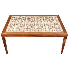 Fine Midcentury Danish Modern Tile Top Walnut Coffee Table