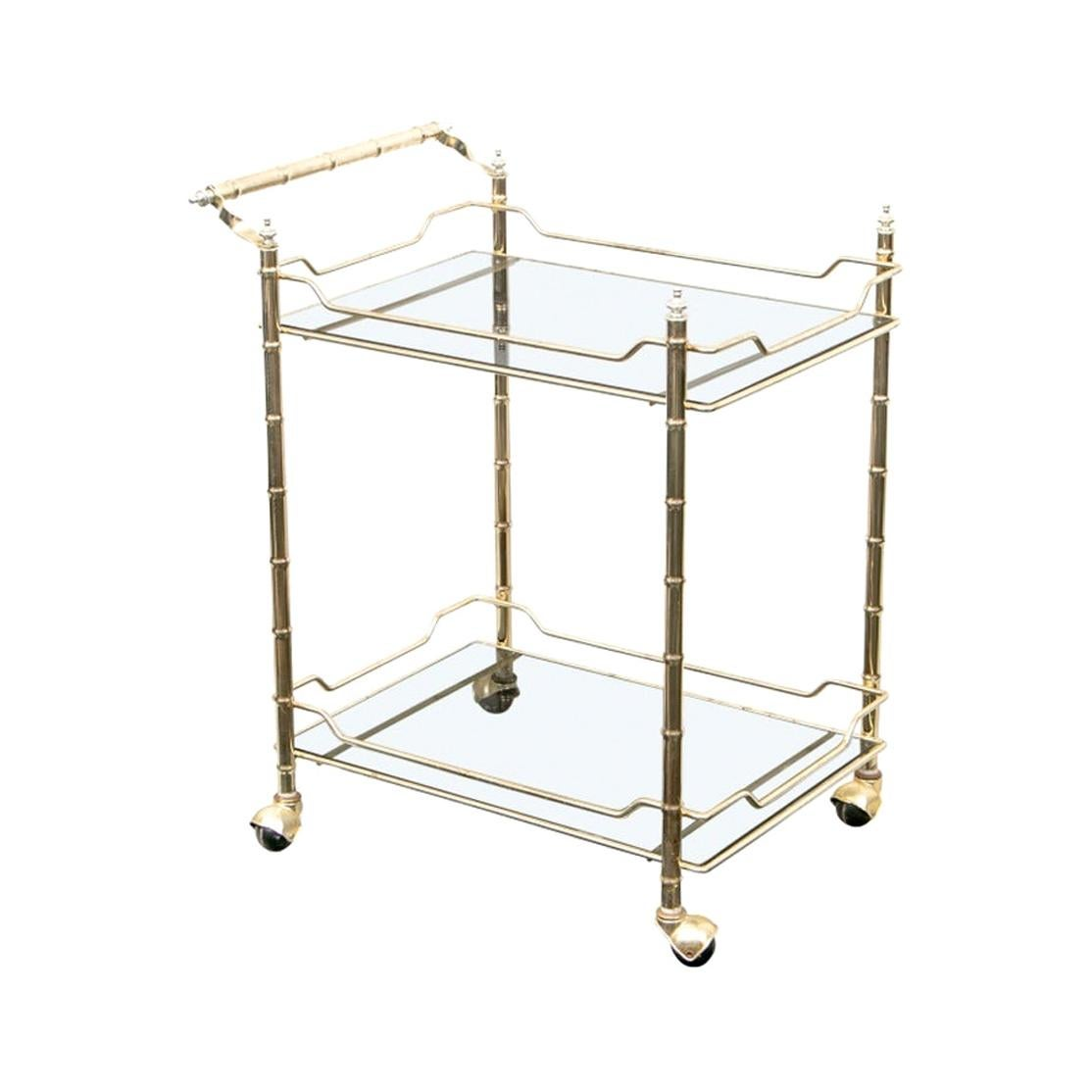Fine Midcentury Faux Bamboo Brass and Glass Bar Cart