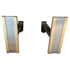 Fine Mid-Century Modern Art Deco Nickel Brass Andirons Manner Karl Springer