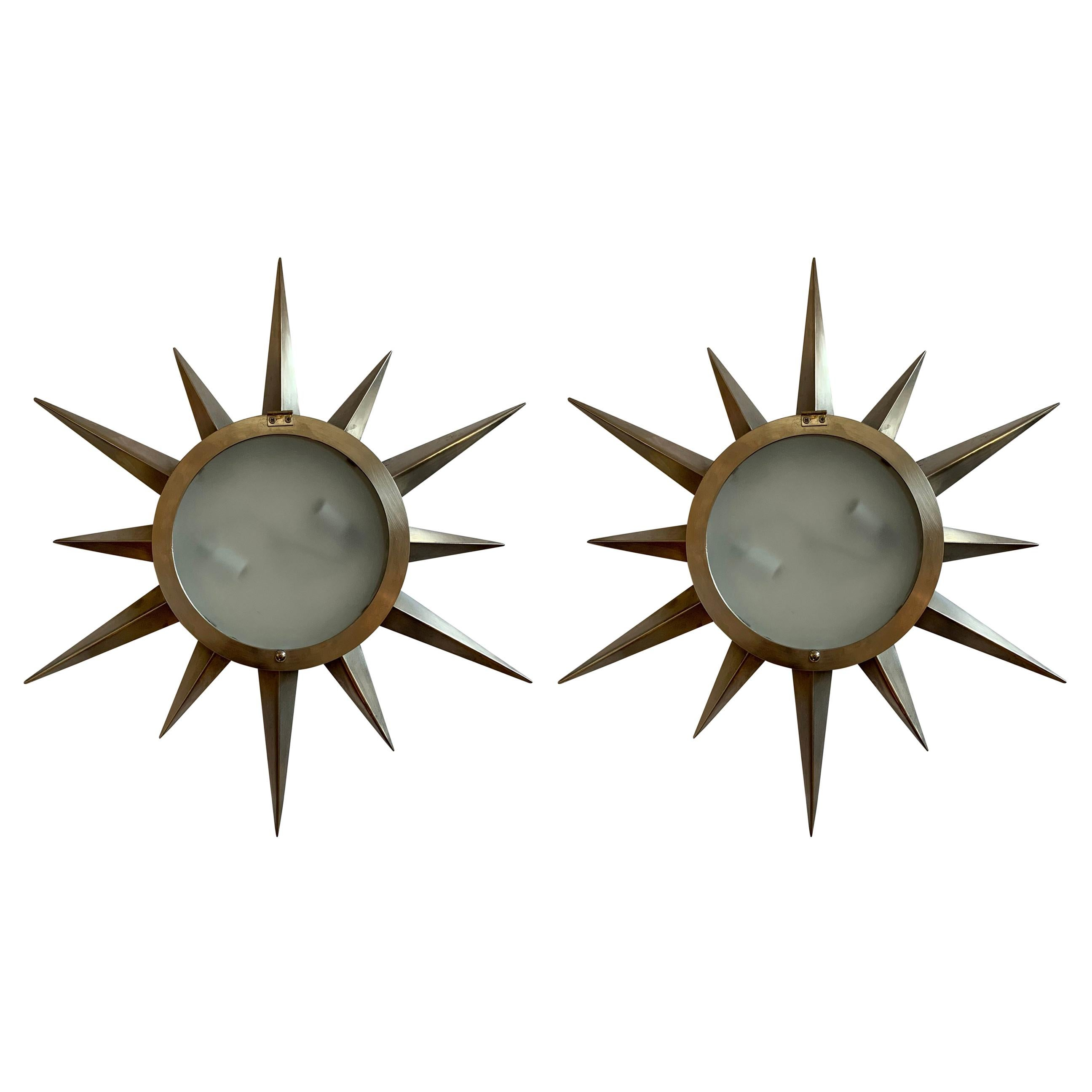 Fine Mid-Century Modern Brushed Brass Star Glass Flush Mount Light Fixture, Pair