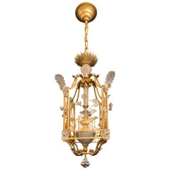 Fine Mid-Century Modern French Baguès Crystal Lantern Pagoda Basket Chandelier