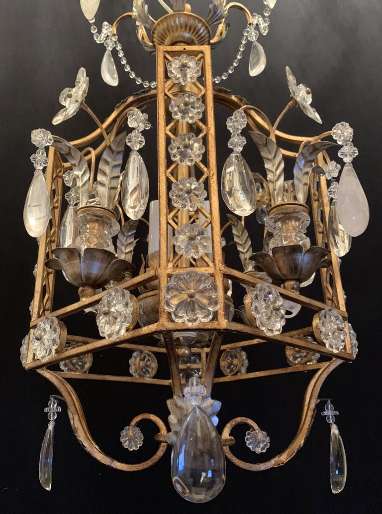 Mid-Century Modern French Baguès Rock Crystal Pair Lanterns Pagoda Chandeliers In Good Condition For Sale In Roslyn, NY