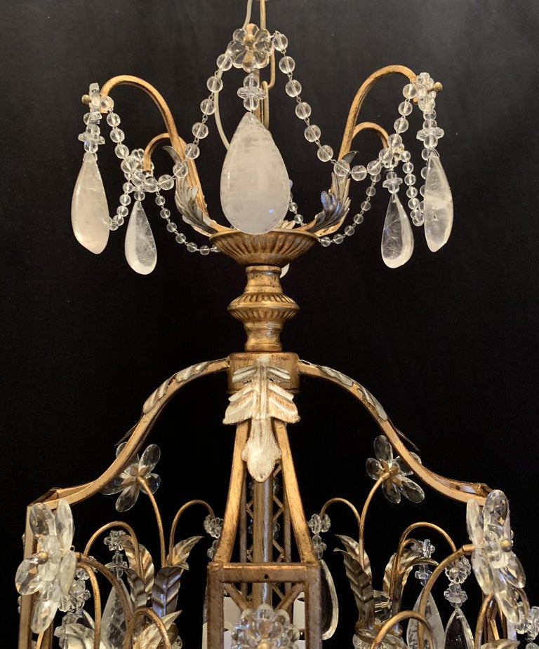 Silver Mid-Century Modern French Baguès Rock Crystal Pair Lanterns Pagoda Chandeliers For Sale