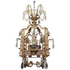 Fine Mid-Century Modern French Baguès Rock Crystal 3 Lantern Pagoda Chandeliers