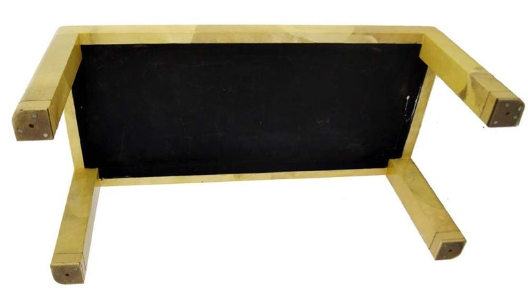 American Fine Mid-Century Modern Goat Skin Parchment Coffee Table in Brass For Sale