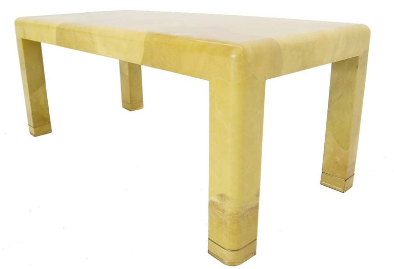 Fine Mid-Century Modern Goat Skin Parchment Coffee Table in Brass In Excellent Condition For Sale In Rockaway, NJ