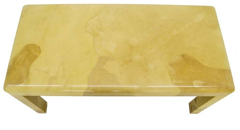 Mid-20th Century Fine Mid-Century Modern Goat Skin Parchment Coffee Table in Brass For Sale