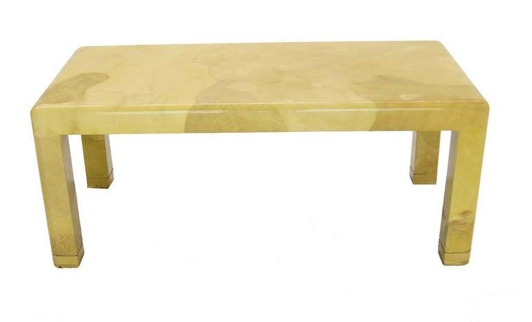 Goatskin Fine Mid-Century Modern Goat Skin Parchment Coffee Table in Brass For Sale