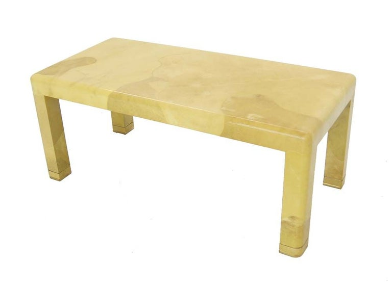 Fine Mid-Century Modern Goat Skin Parchment Coffee Table in Brass For Sale 1