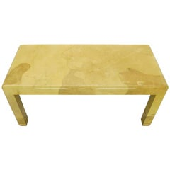 Fine Mid-Century Modern Goat Skin Parchment Coffee Table in Brass