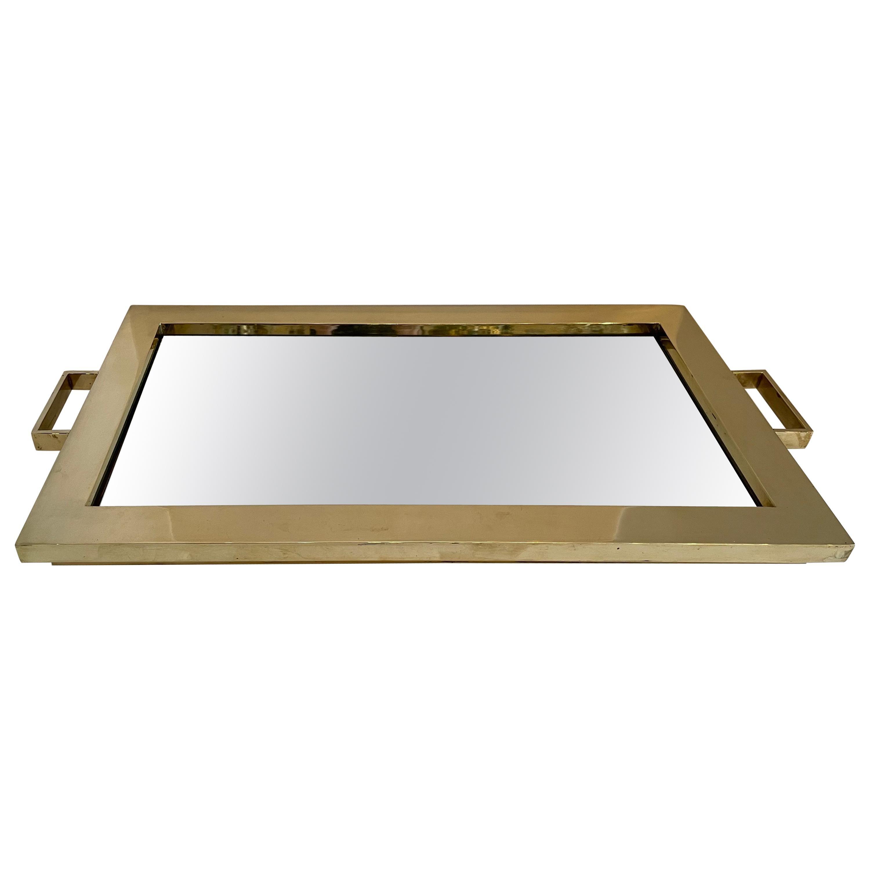 Fine Mid-Century Modern Lorin Marsh Polished Brass Mirror Rectangular Tray