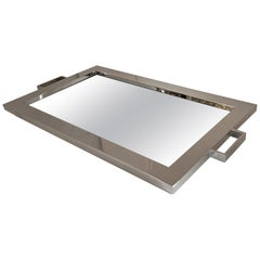 Fine Mid-Century Modern Lorin Marsh Polished Nickel Mirror Rectangular Tray