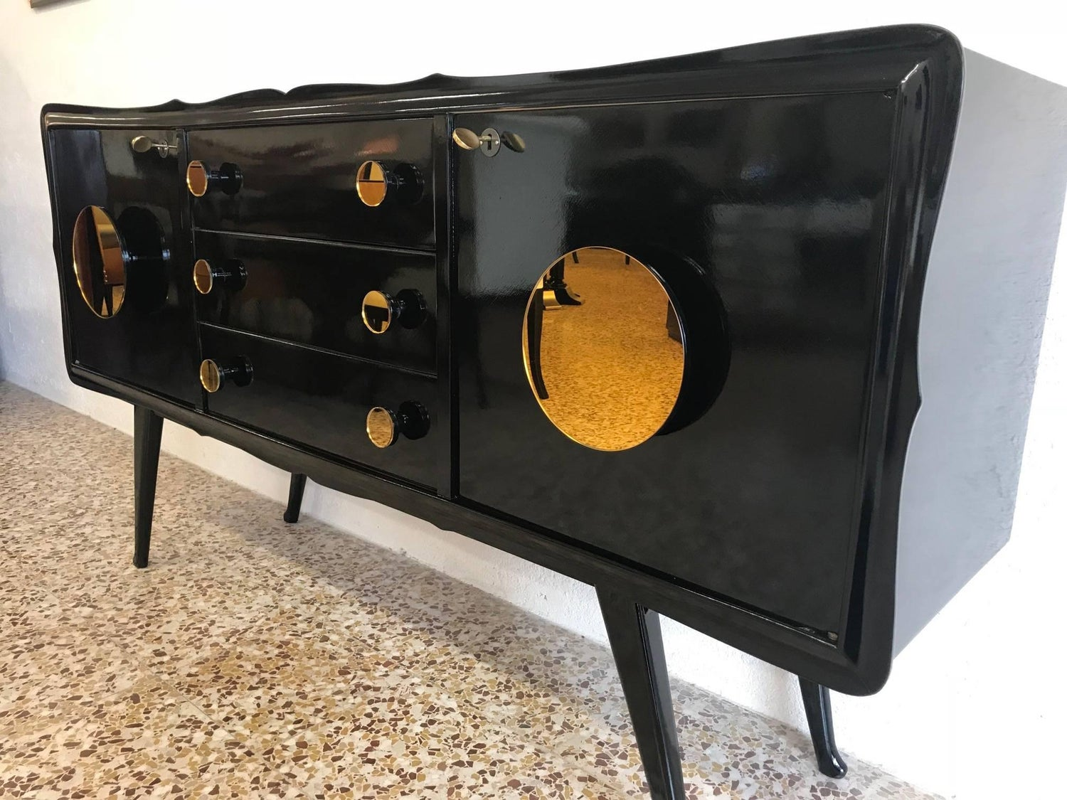 Dark Wood Mirrored Credenza : Fine midcentury black and gold mirror sideboard for sale at 1stdibs