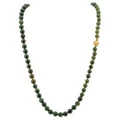 Fine Midcentury Nephrite Jade Necklace