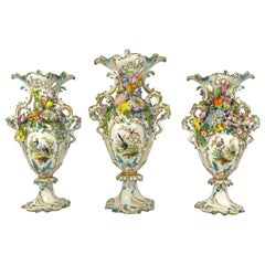 Fine Minton Porcelain 'Flower Encrusted' Garniture, circa 1830