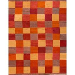 Fine Modern Geometric Multicolored Kilim Rug