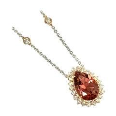 Fine Morganite Diamond Ladies 14 Karat Large 8 Carat Necklace Certified