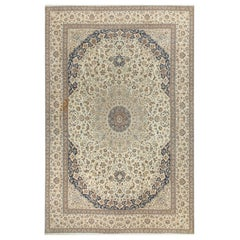 """Fine Nain Oversize Vintage Persian Wool and Silk Rug, 13'4"""" x 20'8"""""""