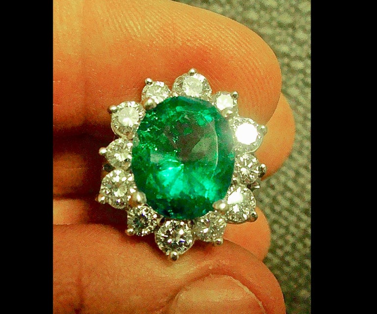 Oval Cut Fine Natural Colombian Emerald Diamond Ring 18 Karat White Gold For Sale