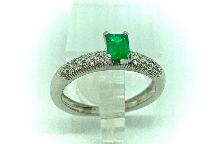 Emerald Cut Fine Natural Colombian Emerald Pave Diamond Engagement Ring For Sale