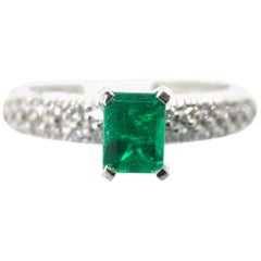 Fine Natural Colombian Emerald Pave Diamond Engagement Ring