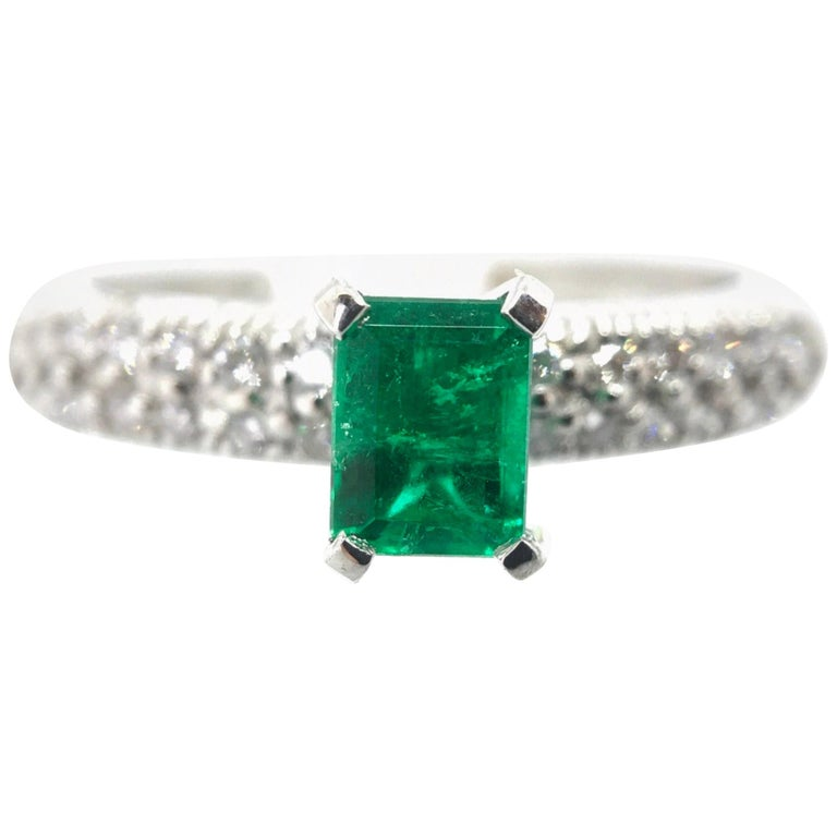 Fine Natural Colombian Emerald Pave Diamond Engagement Ring For Sale