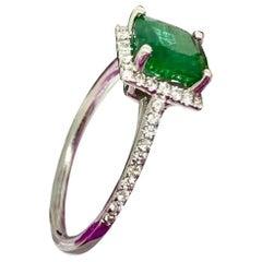 Fine Natural Emerald Diamond 14 Karat Ladies 1.72 Carat Ring Certified