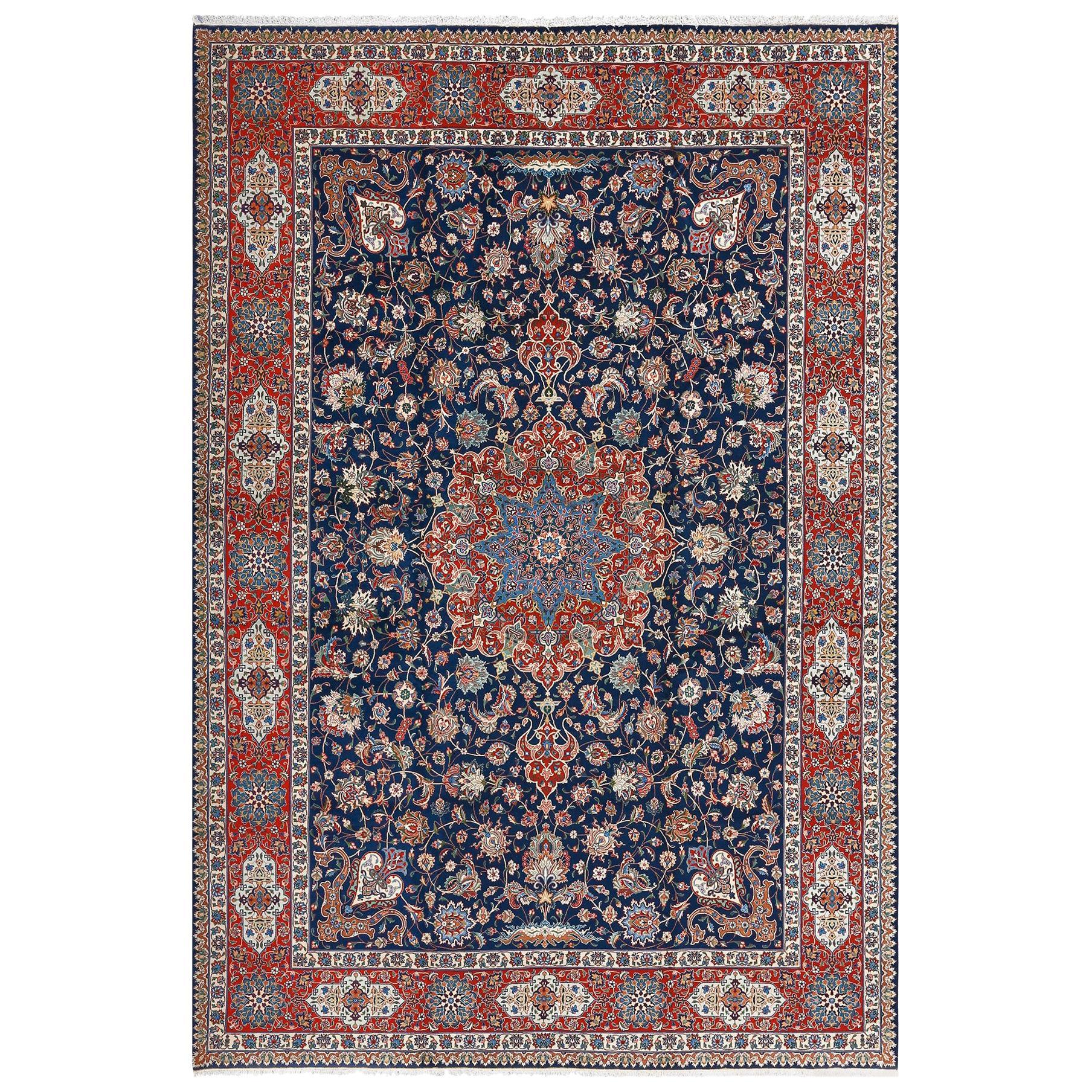 Fine Navy Background Vintage Tabriz Persian Rug. Size: 8 ft 3 in x 12 ft