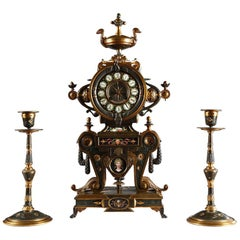 Fine Neo-Greek Clock Set by H. Houdebine