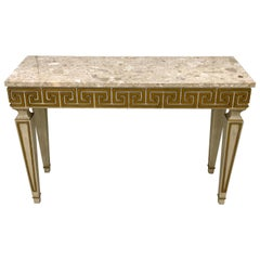 """Fine Neoclassical """"Greek Key' Gilt and Polychrome Marble-Top Console"""