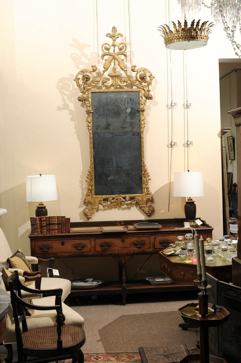 Hand-Carved Fine Neoclassical Italian Giltwood Carved Dolphin Crest Mirror, circa 1780 For Sale