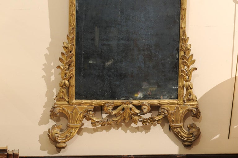 18th Century Fine Neoclassical Italian Giltwood Carved Dolphin Crest Mirror, circa 1780 For Sale
