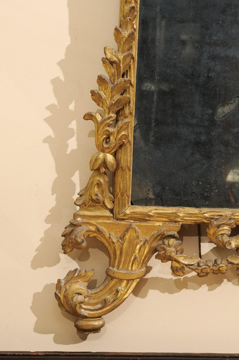Fine Neoclassical Italian Giltwood Carved Dolphin Crest Mirror, circa 1780 For Sale 1