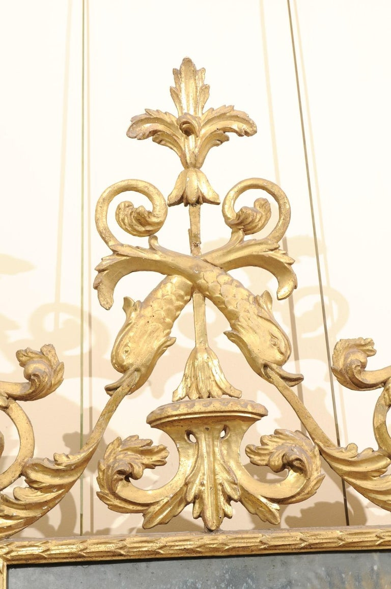 Fine Neoclassical Italian Giltwood Carved Dolphin Crest Mirror, circa 1780 For Sale 4