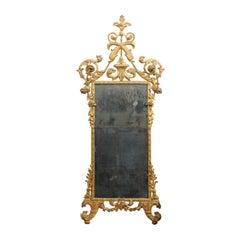 Fine Neoclassical Italian Giltwood Carved Dolphin Crest Mirror, circa 1780