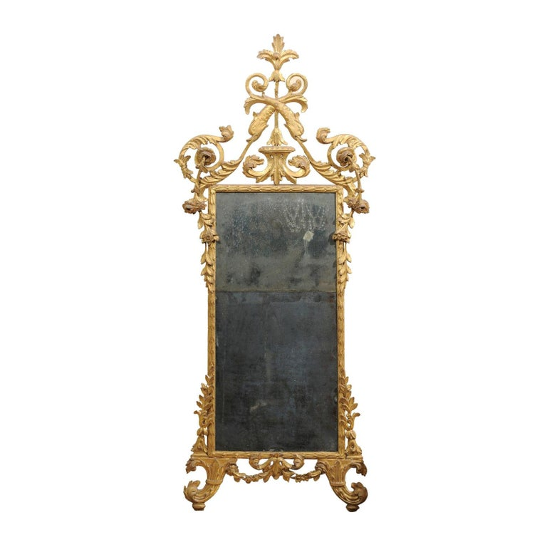 Fine Neoclassical Italian Giltwood Carved Dolphin Crest Mirror, circa 1780 For Sale