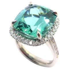 Leyser 18k White Gold Neon Green Tourmaline & Diamond Ring