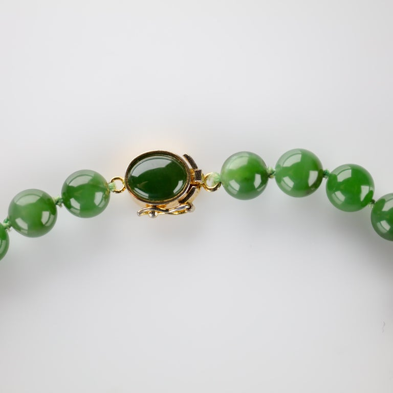 Modern Fine Nephrite Bead Necklace from Midcentury For Sale