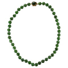 Fine Nephrite Bead Necklace from Midcentury