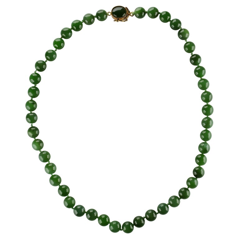 Fine Nephrite Bead Necklace from Midcentury For Sale