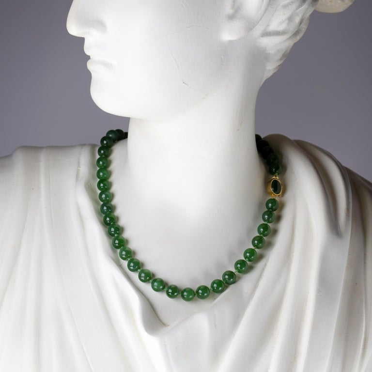 Forty-five translucent nephrite jade beads measuring just over 8 mm's each comprise this classic, timelessly elegant 17