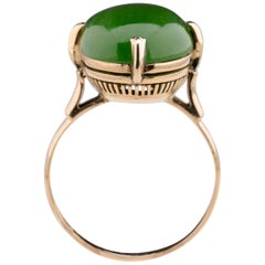 Fine Nephrite Ring Rose Gold, circa 1940s