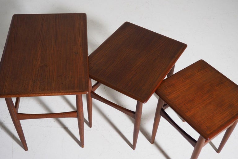 Mid-Century Modern Fine Nesting Tables in Teak, Danish Architect, 1960s For Sale