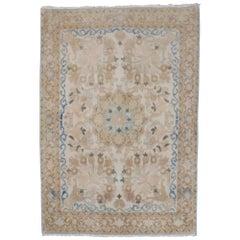 Fine Neutral Persian Kashan Mat