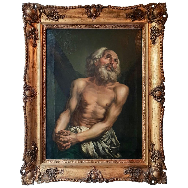 Fine Oil on Canvas Inverse Copy of Saint Andrew by Anton Pavlovich Losenko For Sale