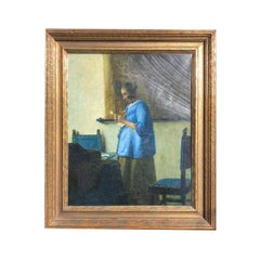 Fine Oil Reproduction Painting of Vermeer's Masterpiece the Woman in Blue